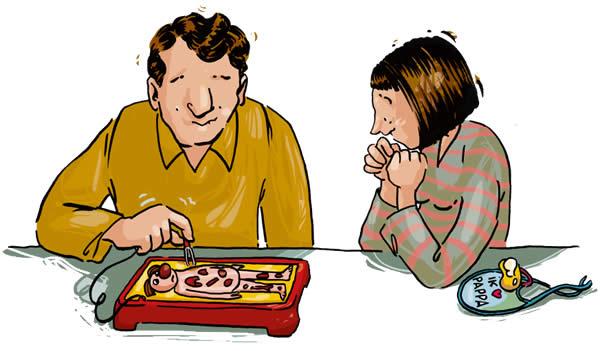 Cartoon: koppel speelt dokter bibber.
