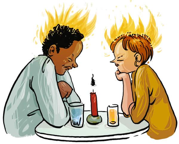Cartoon: koppel aan tafel
