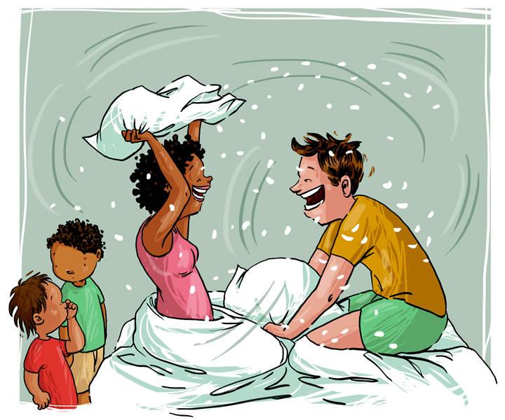 Cartoon: ouders in kussengevecht.
